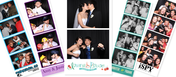 Snapfuze photo booth strips with custom logos.
